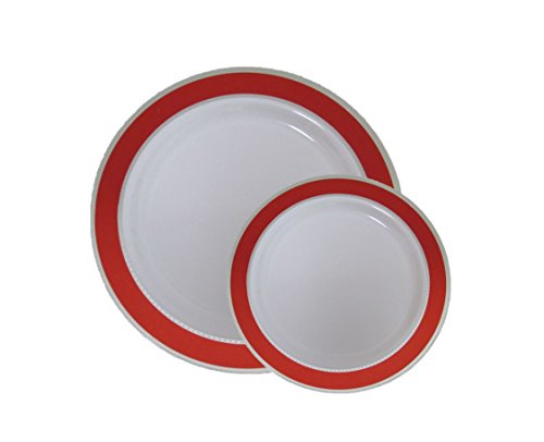Red Plastic Plates (Disposable Plastic Dinner Dessert Plates With Red and Silver Trim-40 Pack - 20 7