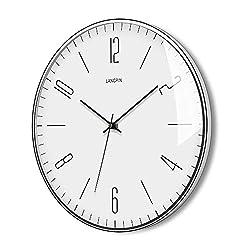 LANGPIN Silent & Non Ticking Modern Wall Clock 14- Battery Operated Digital Quiet Sweep Office Decor Clocks,ChromeCoatedMetal Frame Glass Cover 903-1