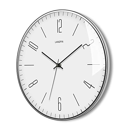 LANGPIN Silent & Non Ticking Modern Wall Clock 14- Battery Operated Digital Quiet Sweep Office Decor Clocks,Chrome Coated Metal Frame Glass Cover 903-1
