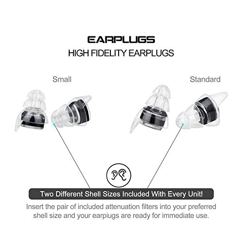 Noise Cancelling Ear Plugs - Earplugs for Concerts Musicians, High Fidelity Acoustics for Travel, Sleeping, Swimming, Shooting Motorcycles and Isolate Industrial Sounds - Two Sizes by Eurlove (Image #2)