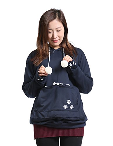 SAIANKE Womens Hoodies Pet Holder Cat Dog Kangaroo Pouch Carriers Pullover Navy