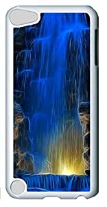 Fashion Customized Case for iPod Touch 5 Generation White Cool Plastic Case Back Cover for iPod Touch 5th with Blue Waterfall