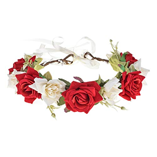 Floral Fall Rose Red Rose Flower Crown Woodland Hair Wreath Festival Headband F-67 (Red Ivory Crown)]()