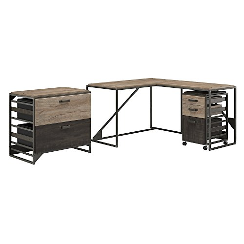 Bush Furniture Refinery 50W L Shaped Industrial Desk with 37W Return and File Cabinets in Rustic Gray by Bush Furniture