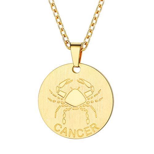 FaithHeart Customizable Astrology 12 Constellation Horoscope Necklace, 18K Gold Plated Cancer Zodiac Star Sign Coin Pendant Necklace Birthday Gifts Lucky Charms Layered Necklace (Gold)