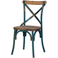 DecentHome Vintage Wood and Metal French Bistro Antique Dining Side Chair (Green)