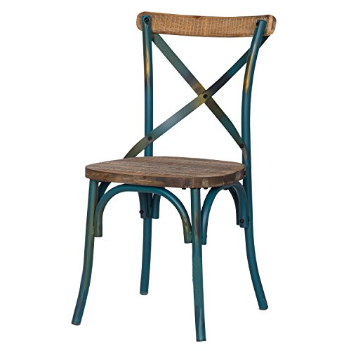 Adeco Metal Chair with Cross Style Back, Solid Elm Wood Dining Side Chair, Green (Breakfast Island Chairs)