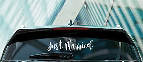 (Just Married Sign Wedding Car Window Vinyl Decal Sticker)