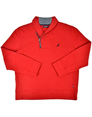 Mens Soft Cotton Shawl Collar Half Zip Sweater Explorer Red Large
