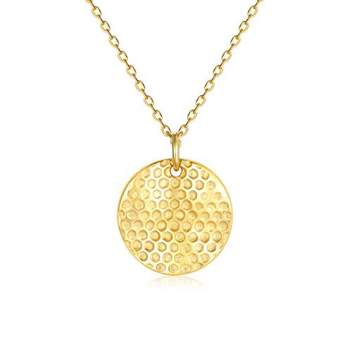 VACRONA Gold Honeycomb Tiny Necklaces,18K Gold Filled Dainty Handmade Circle Disc Hive Cute Necklaces Jewelry Gift for Womens and Girls