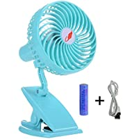 Battery Operated Clip on Fan, Happy-top 360 Degree Rotation Portable Rechargeable 3 Speeds Mini Desk Fan Clip and Table Fan Handheld Outdoor Fans Personal Cooling Fans Adjustable Head (Blue)