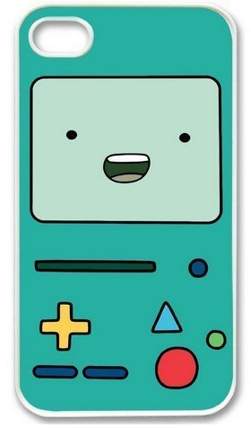 Beemo Adventure Time WHITE Sides Custom Hard Case for iPhone 4 or 4S Vintage Retro Unique Comes in Case Cartel Packaging