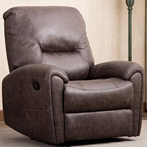 CANMOV Manual Leather Recliner Chair, Single Seat Sofa Home Theater Seating Chair with Storage Bag Overstuffed Arms and Back, Gray