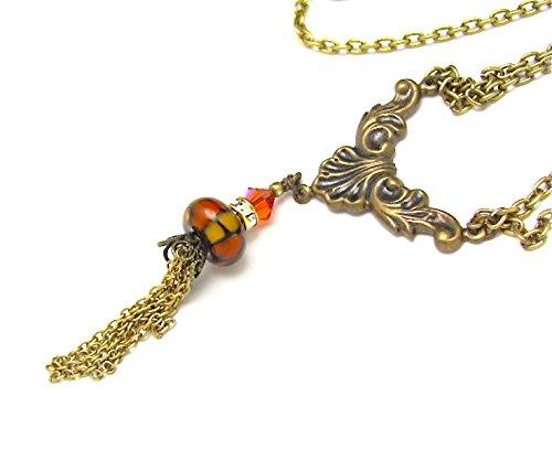 Lampwork Bead Pendant Necklace Antiqued Brass Festoon Design Fall Colors - Fall Lampwork Beads