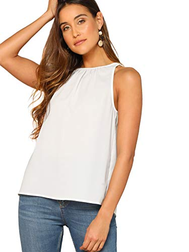 Verdusa Women's Casual Sleeveless Keyhole Back Halter Neck Cami Top White L ()