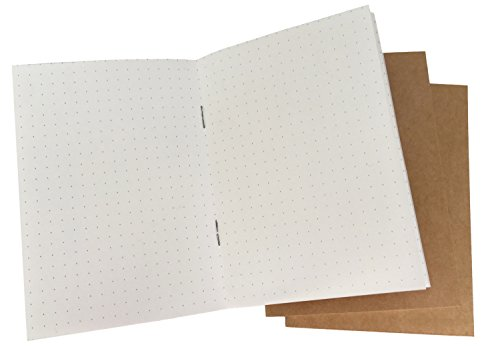 (Dotted Notebook/Travel Bullet Journal Sketchbook - Set of 3 Dot Grid Inserts for Passport Size Travelers Notebook - 100gsm Thick Cream Paper, 192 Pages - Perfect Refill for 5.3 x 4.1'' Leather Journal)