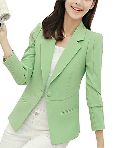Moda Ufficio Lunga Con Tasche Business Donna Da Colore Blass Fit Autunno Giacca Button Primaverile Manica Slim Giacche Blazer Grün Tailleur Cappotto Eleganti Puro Chic ZEqq6wx0