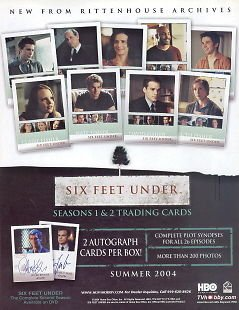 SIX FEET UNDER SEASONS 1 & 2 2004 RITTENHOUSE PROMOTIONAL SALE SELL SHEET (Six Feet Under Season Two compare prices)