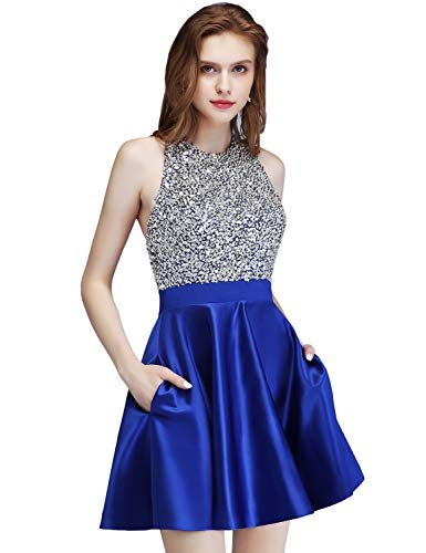 LCRS Juniors Short Prom Dresses with Pockets Satin Beaded Halter A-Line Formal Homecoming Dress 4 Royal Blue