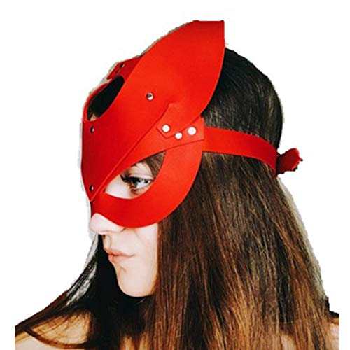 Timefoxy Adjustable Leather Studded Cat Mask Custumes Accessories for Party (Red)