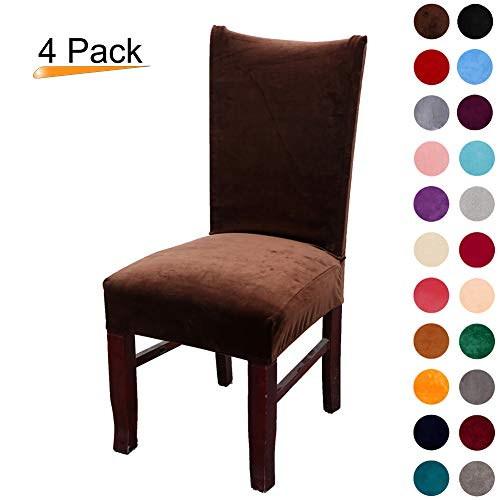 Set Parson Chair Dining (Colorxy Velvet Spandex Fabric Stretch Dining Room Chair Slipcovers Home Decor Set of 4, Dark Coffee)
