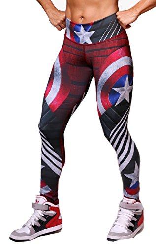 Captain America Superhero Leggings Yoga Pants Compression Tights
