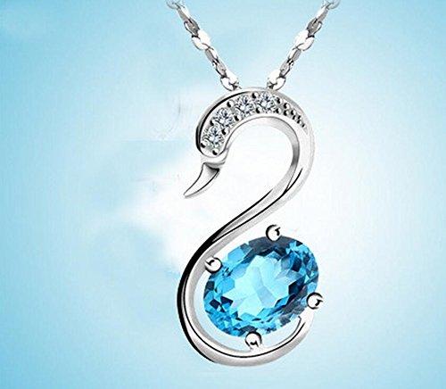 vormor naturel en argent sterling 925avec Topaze collier pendentif cygne avec chaîne en argent