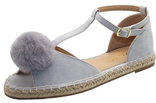 Women Flat Pom Pom Sandal T Bar Espadrille Ankle Strap Shoes Grey i2dE8Rj