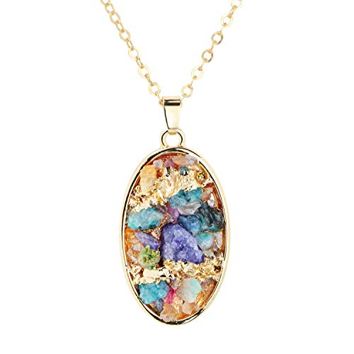(Me&Hz Druzy Pendant Necklace Large Gold Edged Oval Disc/Coin Multicolor Druzy Charm Gemstone Crystals Boho Long Necklace for Women)