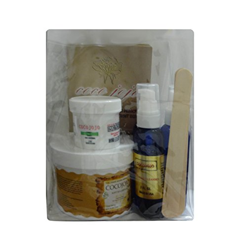 14 Oz Soft Sugaring Kit - Organic Sugaring Hair Removal to Use with Strips - Full Kit -14 Soft Sugaring Jar + 2 Oz Sugaring Powder+2 Oz Sugaring Toner +2 Oz Azulene Oil + 12 Reusable Organic Cotton Strips + 3 Spatulas + How to Use & Tips Brochure by cocojojo
