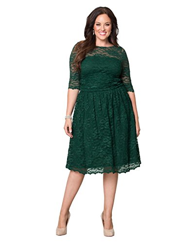 Kiyonna Women's Plus Size Luna Lace Cocktail Dress 0X Green Ivy by Kiyonna Clothing
