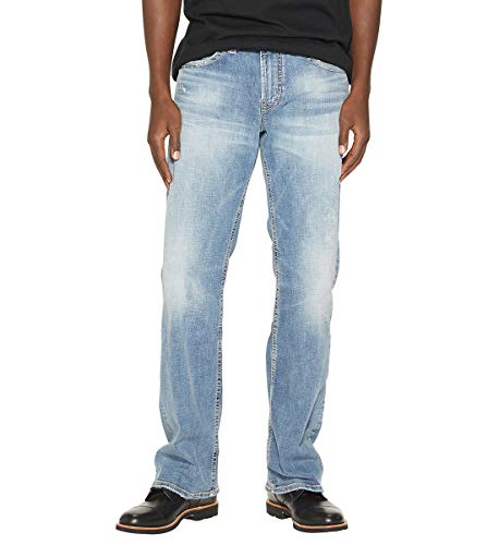(Silver Jeans Men's Zac Relaxed Fit Straight Leg Jeans Pants, Sandblast Light Indigo, 29x34 )