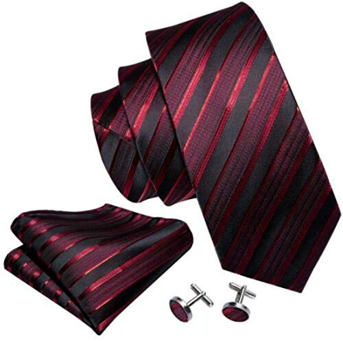 Irvint & Co Red - Burgundy Stripe Jacquard Silk USA Mens Necktie With Pocket Square And Cufflinks Woven Set Wedding Party ()