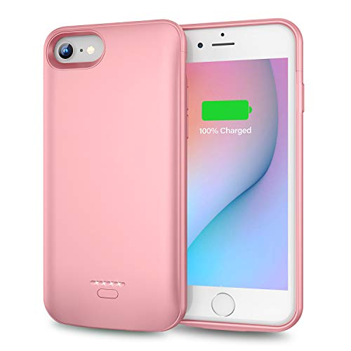 Battery Case for iPhone 6 Plus 6s Plus, Slim 5500mAh Portable Charger Case Extend 150% Battery Life, Protective Backup Charging Case Compatible with iPhone 6 Plus 6s Plus (5.5 inch)-Rose Gold