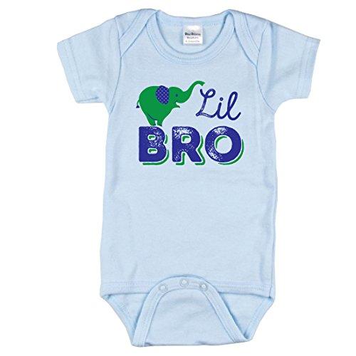 Little Brother Bodysuit, Elephant Bodysuit, Lil Bro Shirt, Includes Blue 0-3 mo