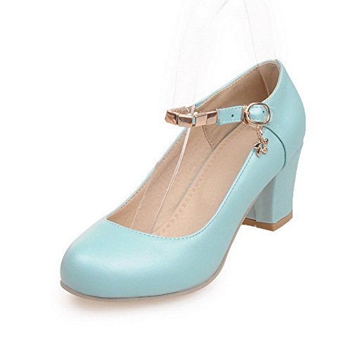 Allhqfashion Hebilla Para Mujer Redonda Cerrado Dedo Del Pie Kitten-heels Pu Sólidos Bombas-zapatos Con Encantos Azul