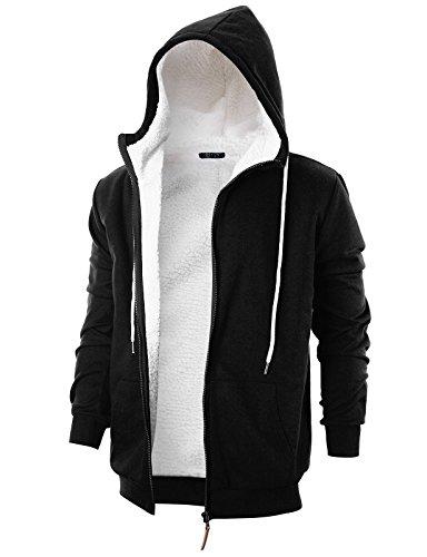 GIVON Mens Slim Fit Long Sleeve Thermal Faux Fur Zip-up Hoodie with Kanga ()