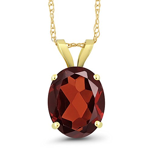 14k Oval Gemstone Pendant (2.50 Ct Oval Red Garnet 14K Yellow Gold Pendant Gemstone Birthstone With 18 Inch Chain)