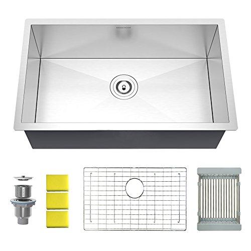 Undermount Two Kit Installation (MENSARJOR 30'' Undermount Single Bowl Kitchen Sink - 18 Gauge Handmade Stainless Steel Sink, Deep Basin, MUS3018S10)