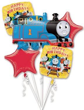 THOMAS Tank TRAIN Engine Birthday PARTY (5) Piece Helium Mylar BALLOONS Set KIT
