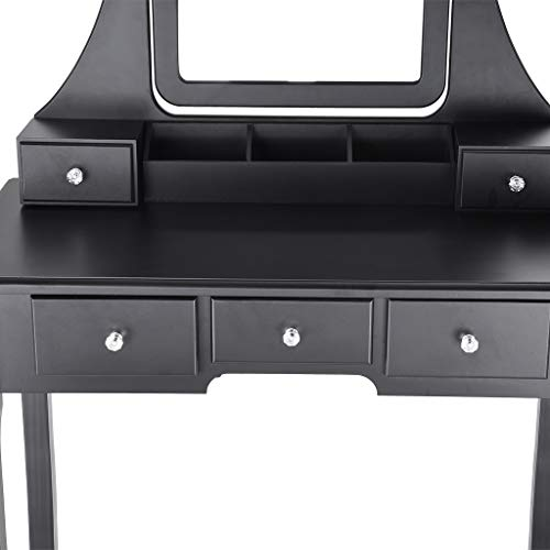 Sonmer Vanity Set with Mirror, Cushioned Stool, Storage Shelves, Drawers Dividers ,3 Style Optional, Shipped from US - Two Day Shipping (#1, Black) by Sonmer (Image #6)