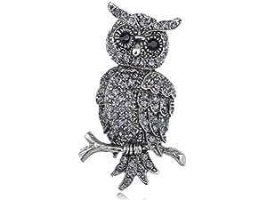 Alilang Antique Silvery Tone Grey Rhinestones Owl Bird Hoot Branch Brooch Pin