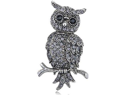 (Alilang Antique Silvery Tone Grey Rhinestones Owl Bird Hoot Branch Brooch Pin)