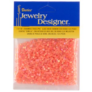 10/0 Seed Beads, Inside Rainbow, Peach, 20 Gram Pkg