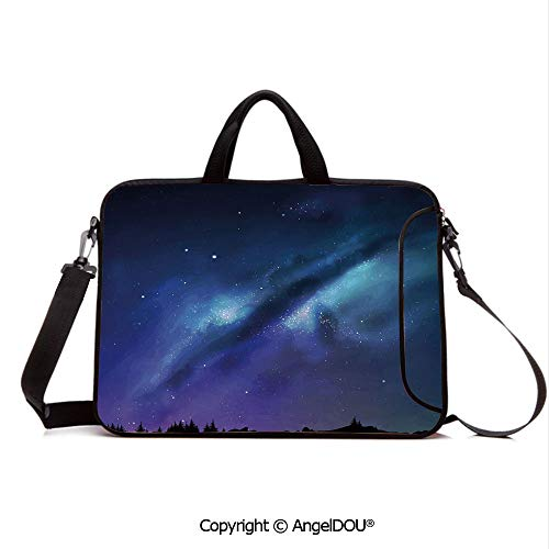 AngelDOU Neoprene Laptop Shoulder Bag Case Sleeve with Handle and Extra Pocket Milky Way Inspired Nebula Cluster Galaxy Fantastic Cosmos Constellation Decorati Compatible with MacBook/Ultrabook/HP/A