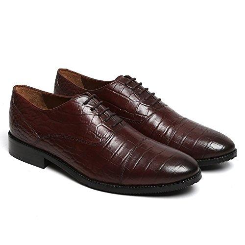 BRUNE Men Croco Print Wine Leather Cap Toe Oxford Formal Shoe
