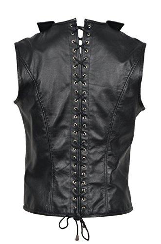 Nouveau Gilet Corset por hommes en cuir véritable , noir, Os en Acier STEAMPUNK gilet GOTH élégant style victorien 1458