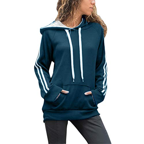 - TIFENNY Fashion 2019 New Sweatshirt Women's Stripe Casual Long Sleeve Round Neck Embroidery Flower Pullover Hooded