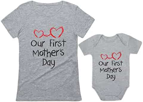 Our First Mother's Day Outfit for Mom & Baby Matching Set Bodysuit & Women Shirt
