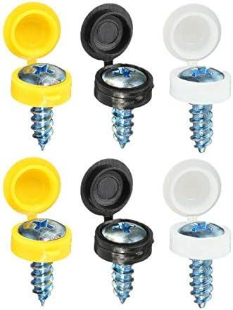24 Pack Plastic Nylon Hinged Screw Cover Caps Flip Tops White Black Yellow